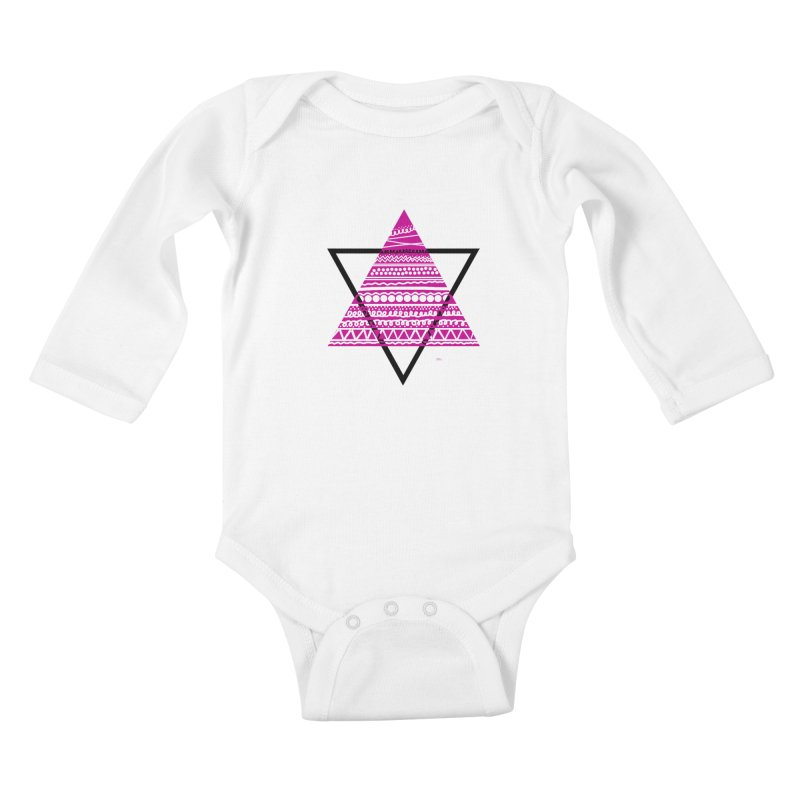 Triangle purple Kids Baby Longsleeve Bodysuit by DERG's Artist Shop