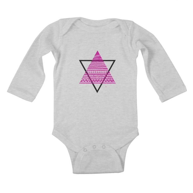 Triangle purple Kids Baby Longsleeve Bodysuit by DERG's Artist Shop