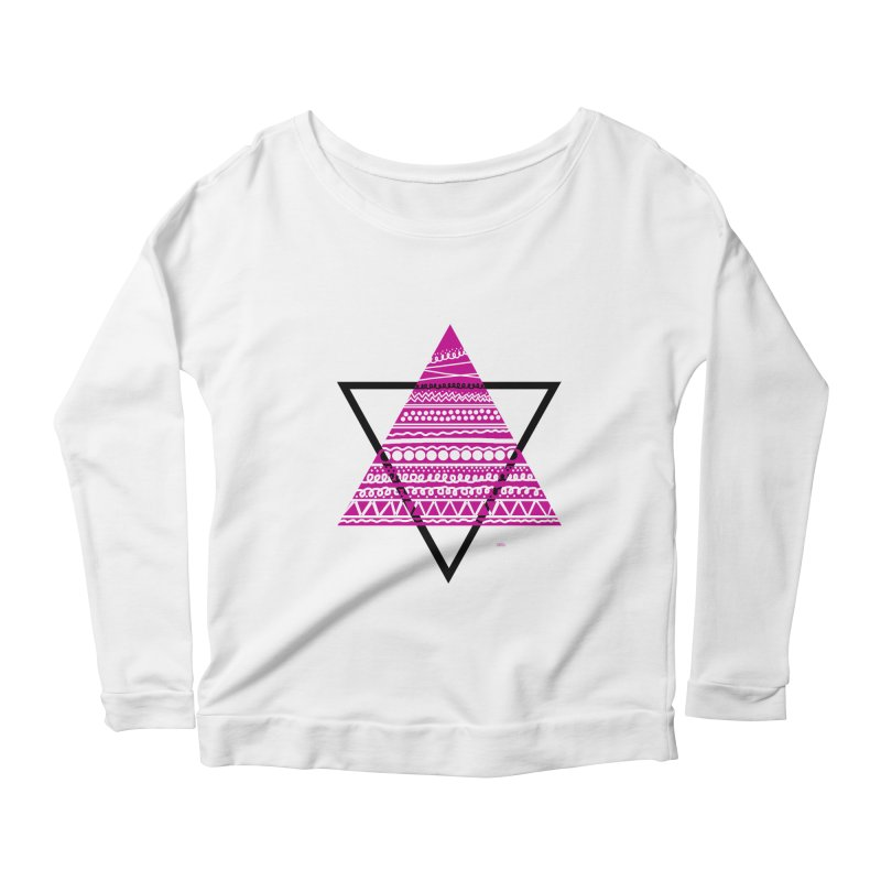 Triangle purple Women's Longsleeve Scoopneck  by DERG's Artist Shop