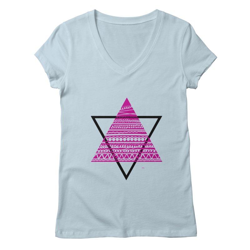 Triangle purple Women's V-Neck by DERG's Artist Shop