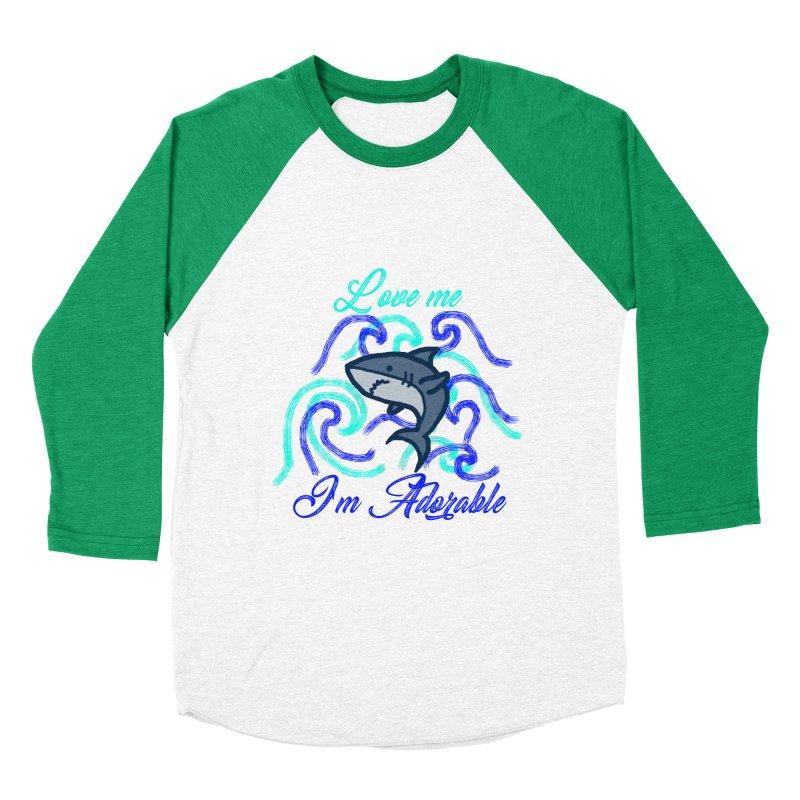 Shark adorable Men's Baseball Triblend T-Shirt by DERG's Artist Shop