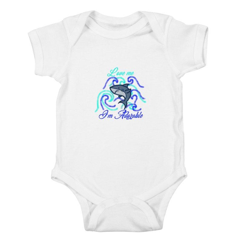 Shark adorable Kids Baby Bodysuit by DERG's Artist Shop