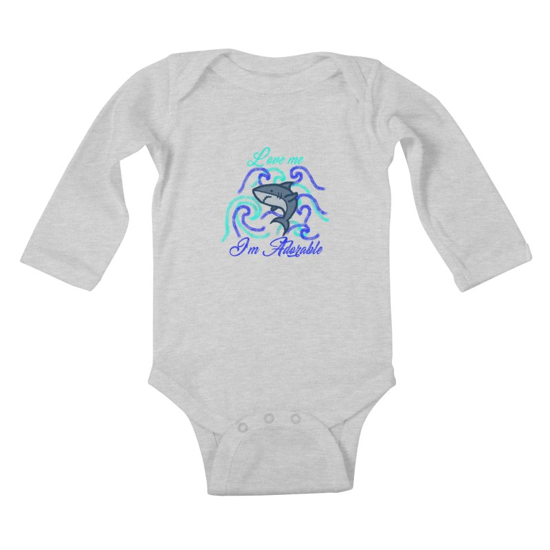 Shark adorable Kids Baby Longsleeve Bodysuit by DERG's Artist Shop