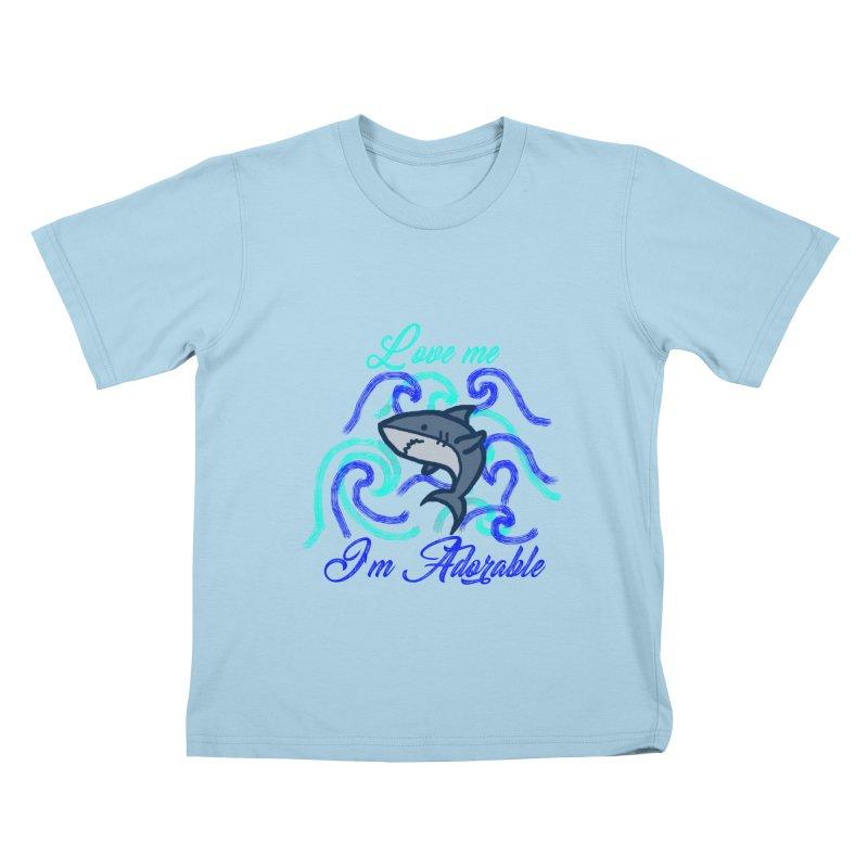 Shark adorable Kids T-Shirt by DERG's Artist Shop