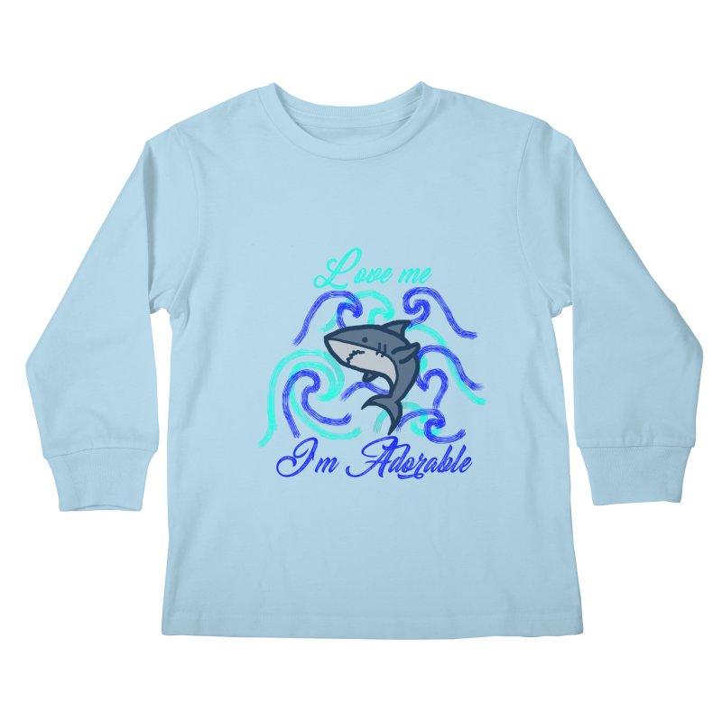 Shark adorable Kids Longsleeve T-Shirt by DERG's Artist Shop