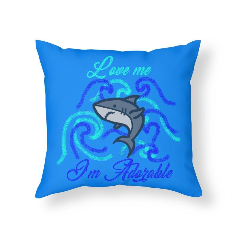 Shark adorable Home Throw Pillow by DERG's Artist Shop