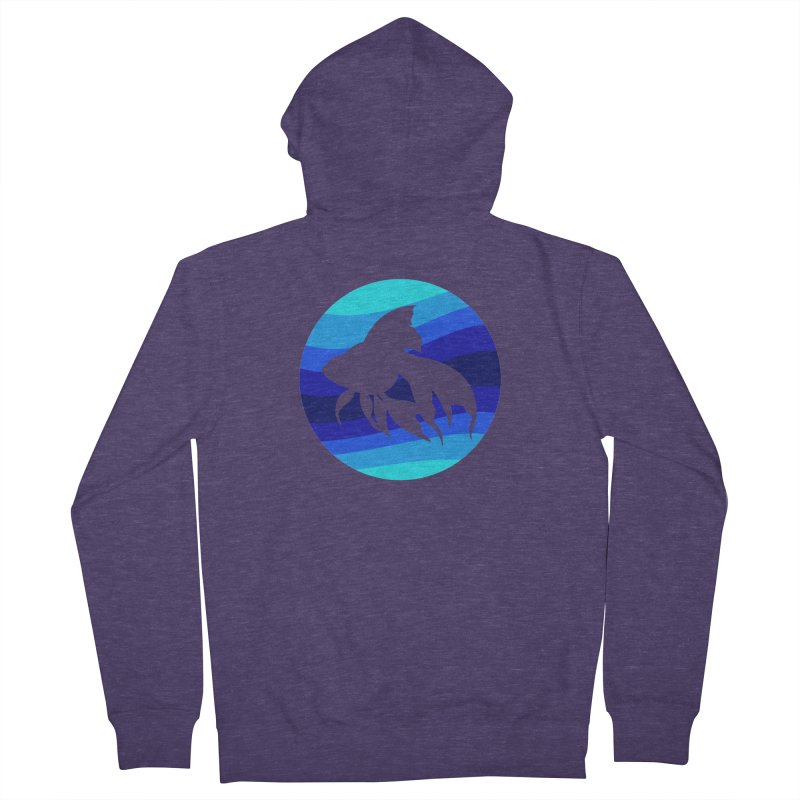 Blue wave Men's French Terry Zip-Up Hoody by DERG's Artist Shop
