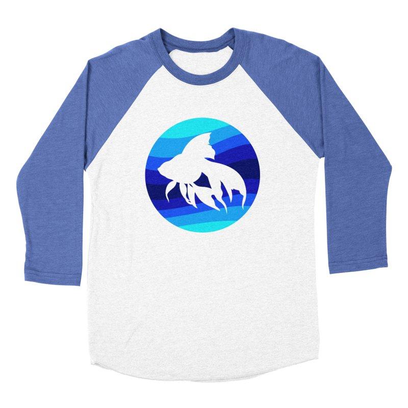 Blue wave Women's Baseball Triblend Longsleeve T-Shirt by DERG's Artist Shop