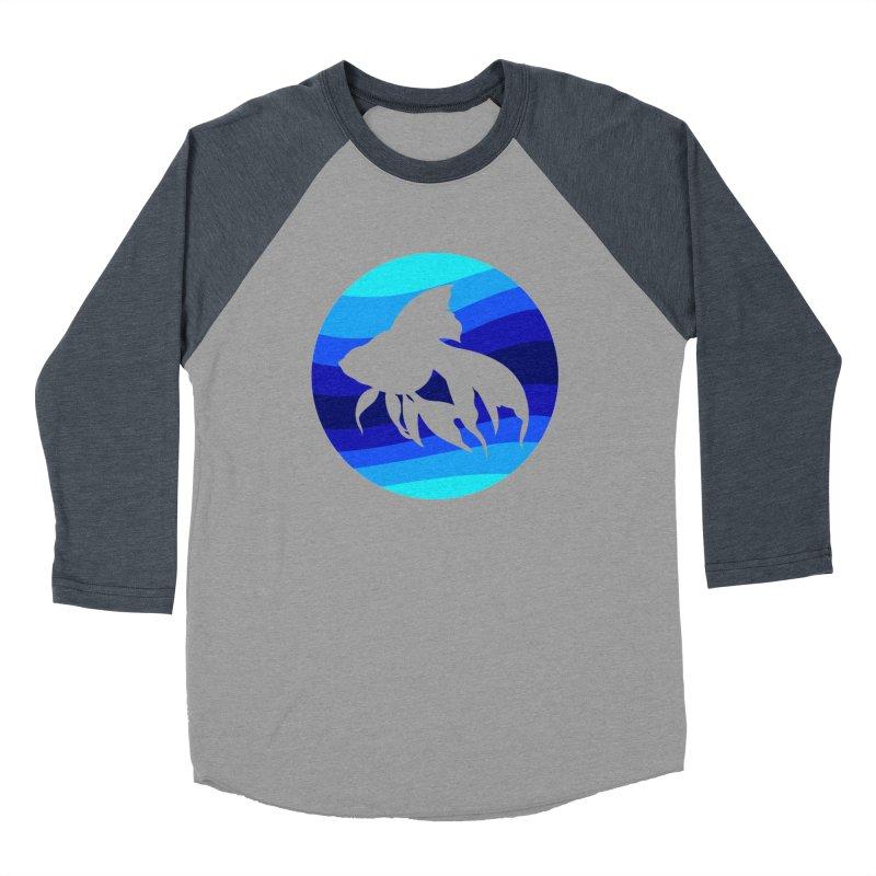 Blue wave Women's Baseball Triblend T-Shirt by DERG's Artist Shop