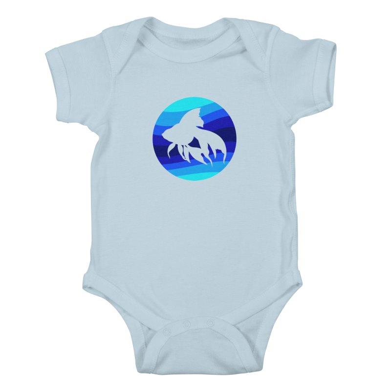 Blue wave Kids Baby Bodysuit by DERG's Artist Shop