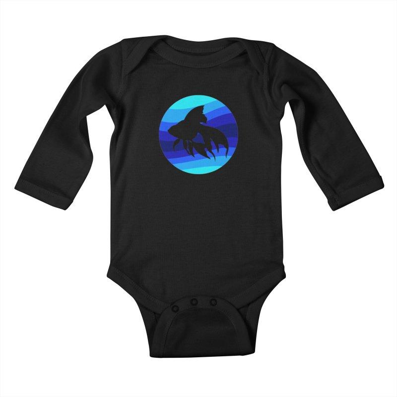 Blue wave Kids Baby Longsleeve Bodysuit by DERG's Artist Shop