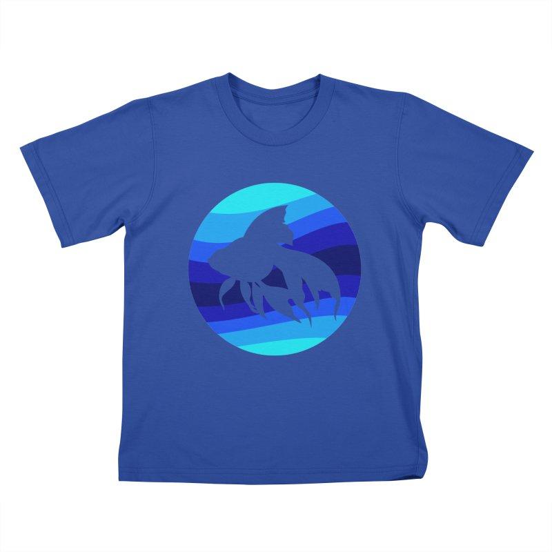 Blue wave Kids T-Shirt by DERG's Artist Shop