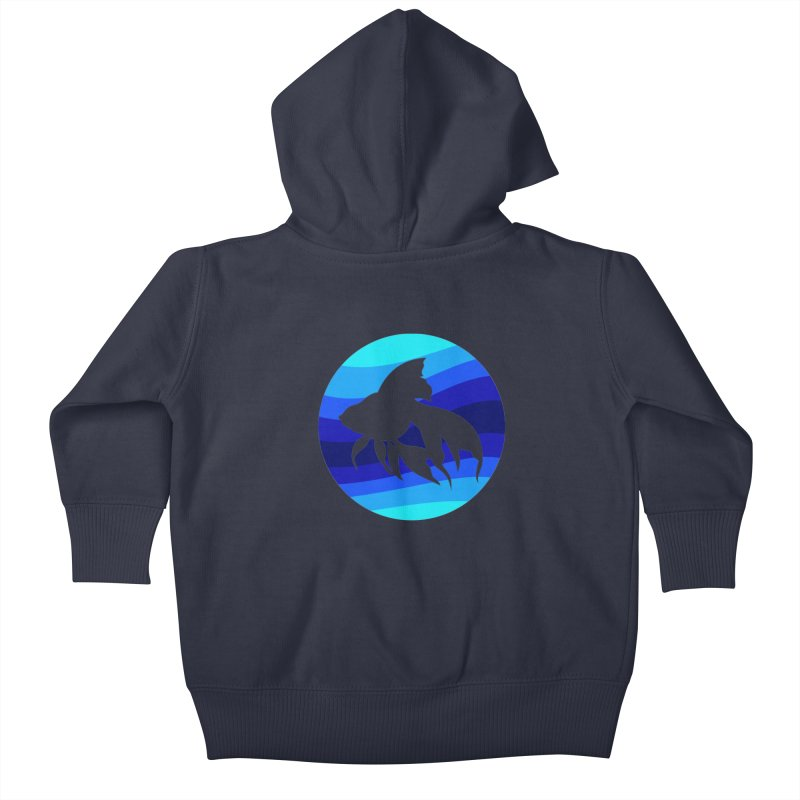 Blue wave Kids Baby Zip-Up Hoody by DERG's Artist Shop