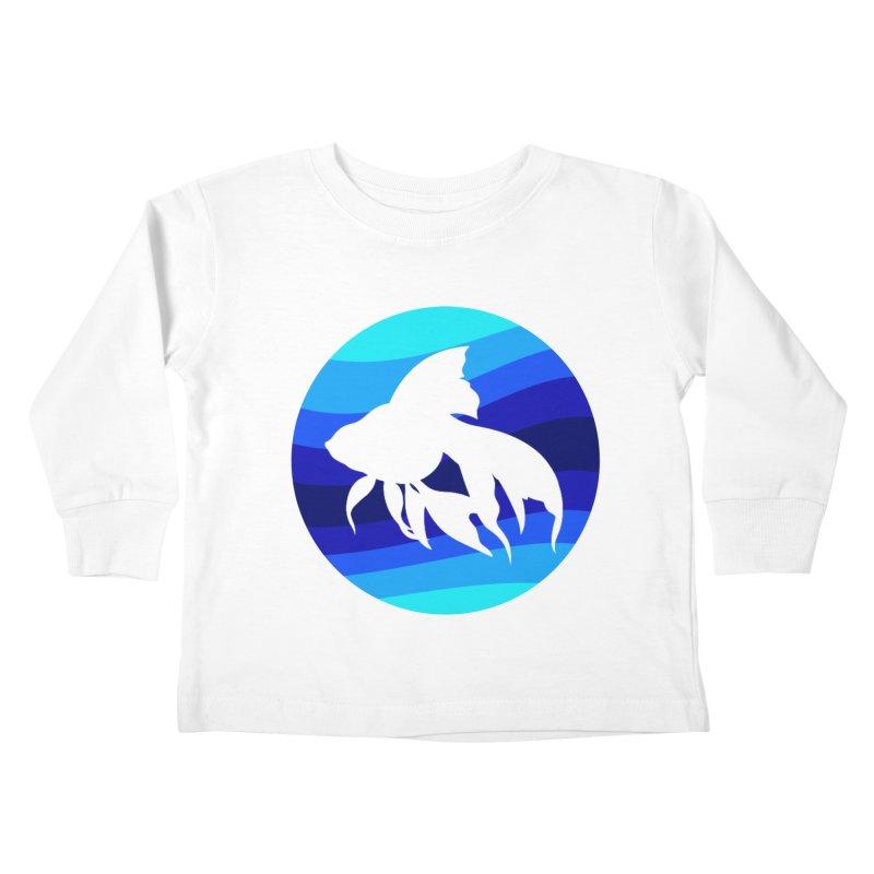 Blue wave Kids Toddler Longsleeve T-Shirt by DERG's Artist Shop