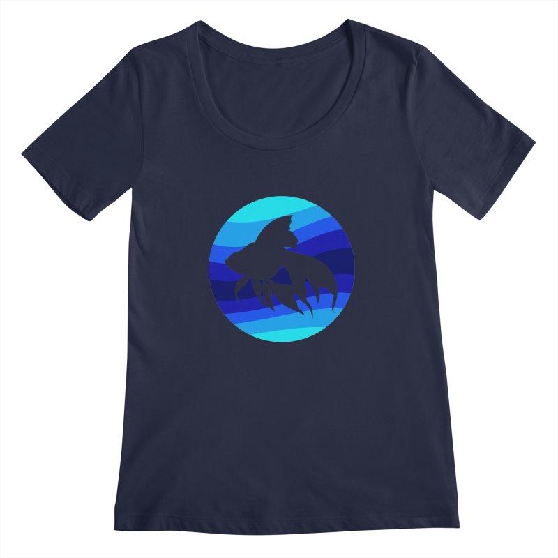 Blue wave Women's Scoopneck by DERG's Artist Shop