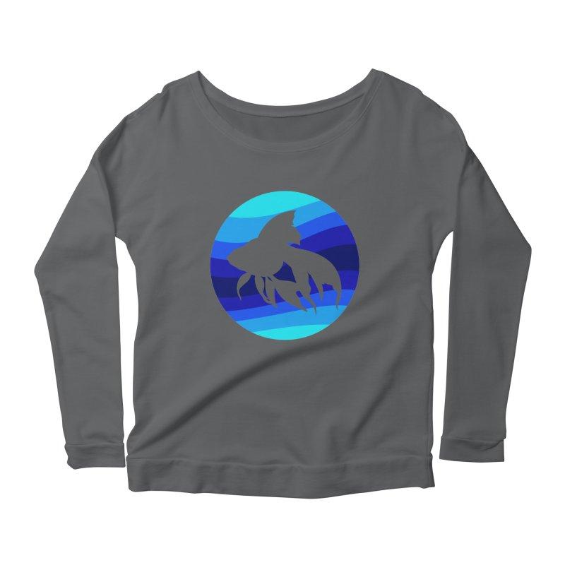 Blue wave Women's Longsleeve Scoopneck  by DERG's Artist Shop