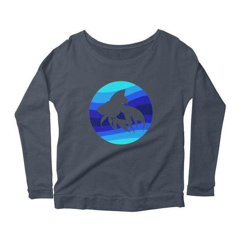 Blue wave Women's Scoop Neck Longsleeve T-Shirt by DERG's Artist Shop