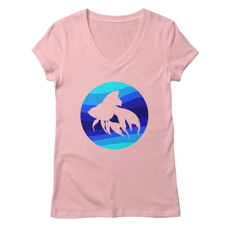 Blue wave Women's V-Neck by DERG's Artist Shop