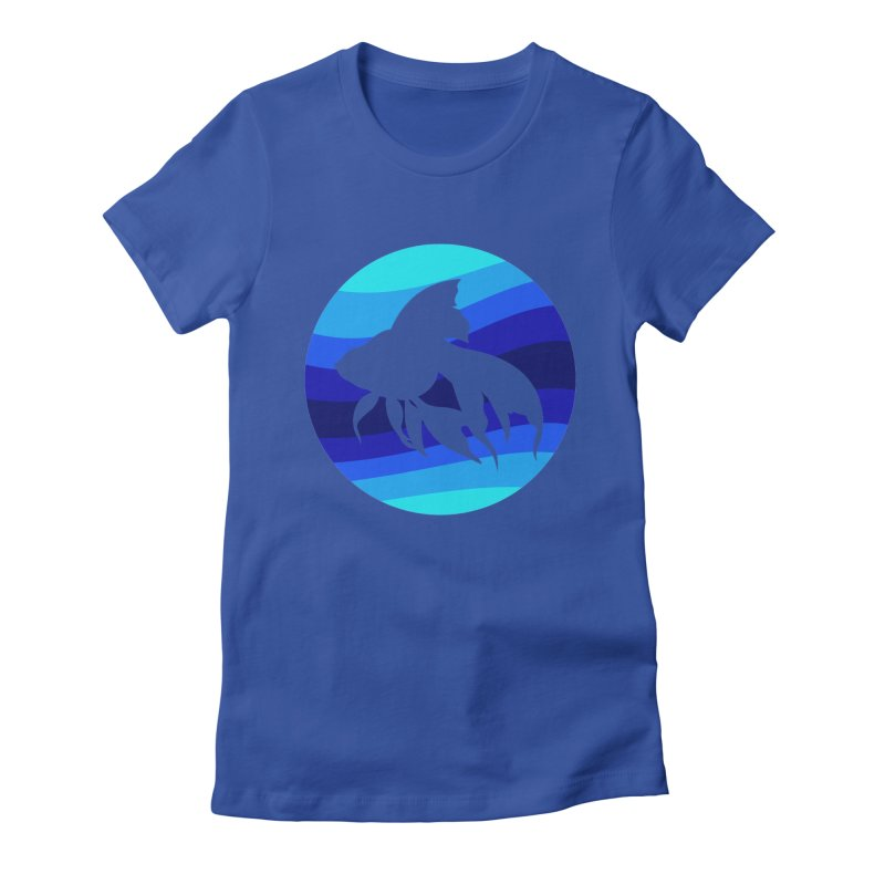 Blue wave Women's Fitted T-Shirt by DERG's Artist Shop