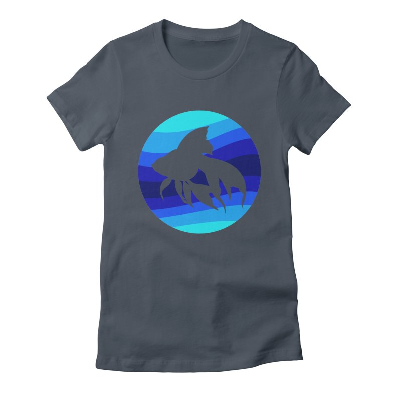 Blue wave Women's Fitted T-Shirt by DERG's Artist Shop