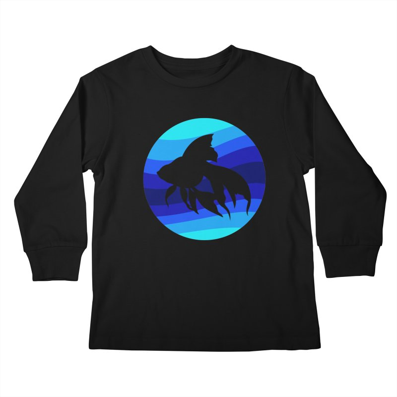 Blue wave Kids Longsleeve T-Shirt by DERG's Artist Shop