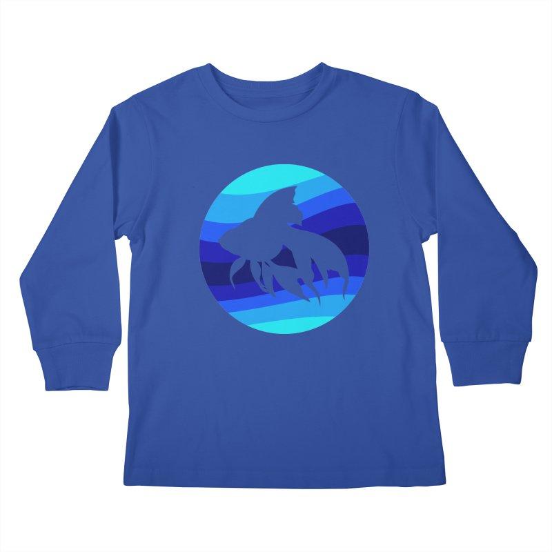 Blue wave Kids Longsleeve T-Shirt by DERG's Artist Shop