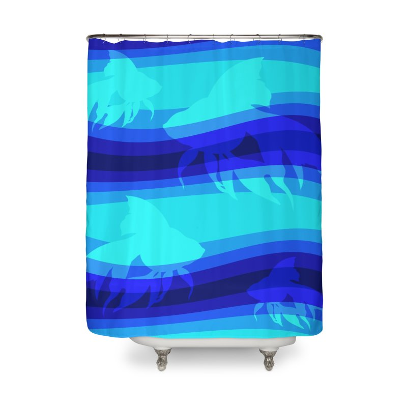 Blue wave Home Shower Curtain by DERG's Artist Shop