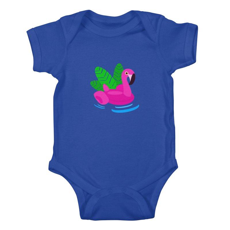 Summer flamingo Kids Baby Bodysuit by DERG's Artist Shop