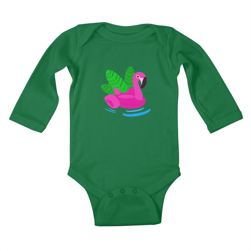 Summer flamingo Kids Baby Longsleeve Bodysuit by DERG's Artist Shop