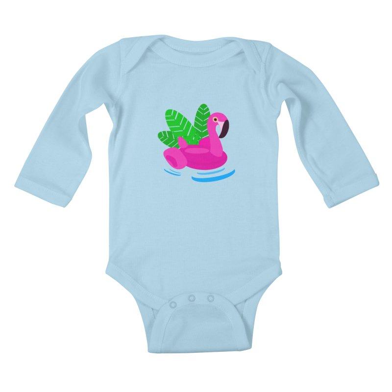 Summer flamingo Kids Baby Longsleeve Bodysuit by DERG's Artist Shop