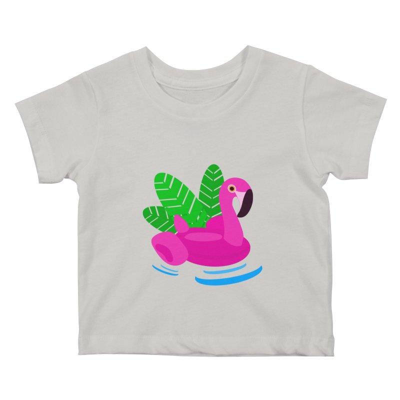 Summer flamingo Kids Baby T-Shirt by DERG's Artist Shop