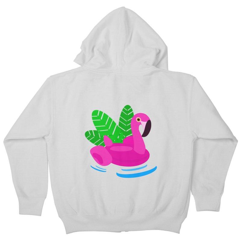 Summer flamingo Kids Zip-Up Hoody by DERG's Artist Shop