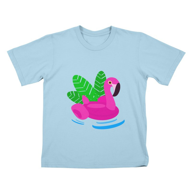 Summer flamingo Kids T-shirt by DERG's Artist Shop