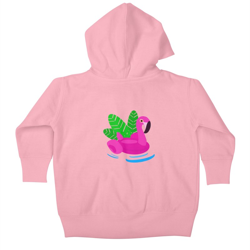 Summer flamingo Kids Baby Zip-Up Hoody by DERG's Artist Shop