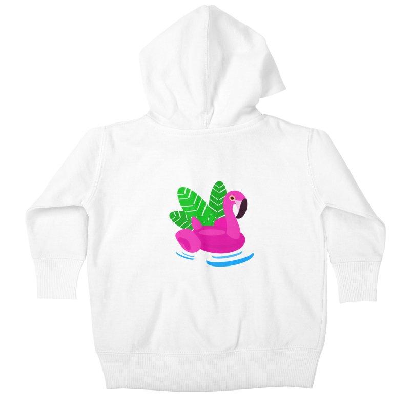 Summer flamingo Kids Baby Zip-Up Hoody by DERG's Artist Shop