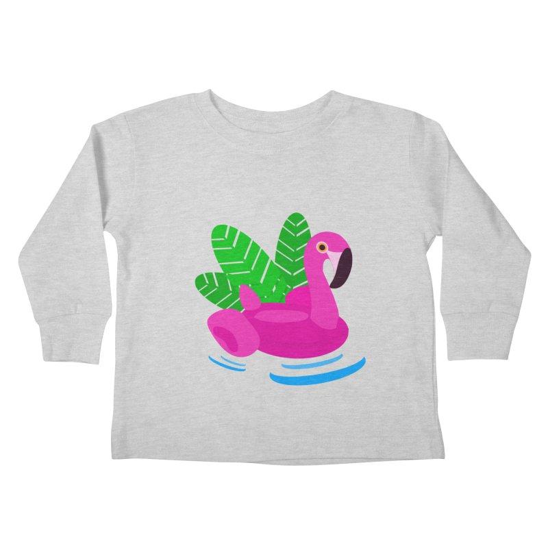 Summer flamingo Kids Toddler Longsleeve T-Shirt by DERG's Artist Shop