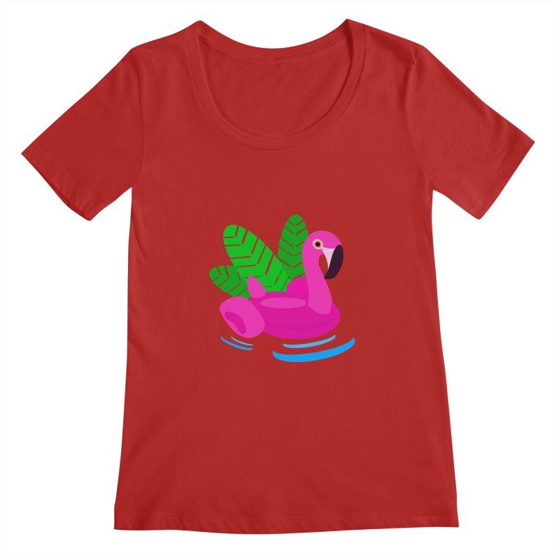 Summer flamingo Women's Scoopneck by DERG's Artist Shop