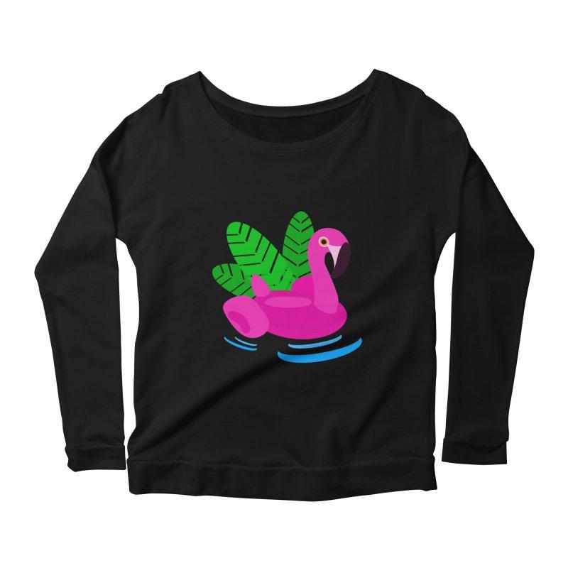 Summer flamingo Women's Scoop Neck Longsleeve T-Shirt by DERG's Artist Shop