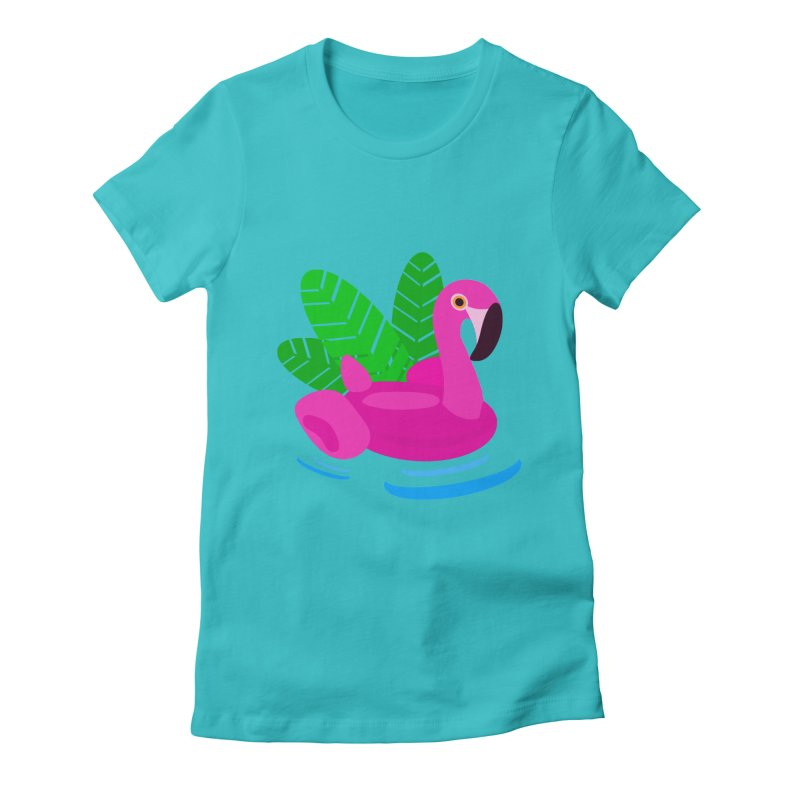 Summer flamingo Women's Fitted T-Shirt by DERG's Artist Shop