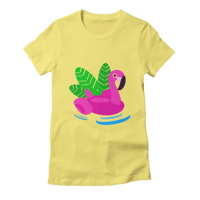 Summer flamingo Women's Fitted T-Shirt by DERG's Artist Shop