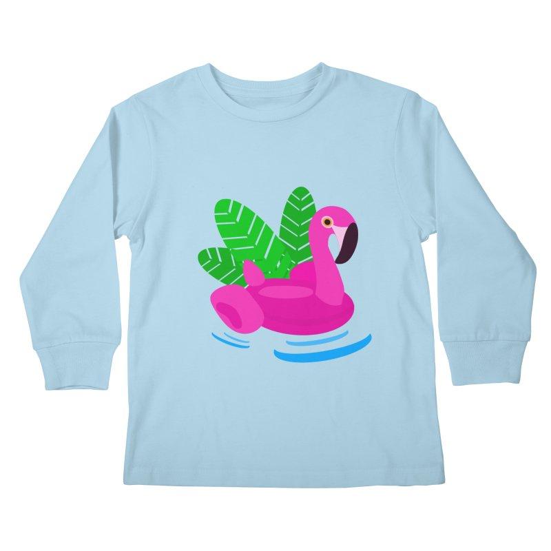 Summer flamingo Kids Longsleeve T-Shirt by DERG's Artist Shop