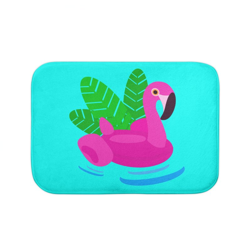 Summer flamingo Home Bath Mat by DERG's Artist Shop