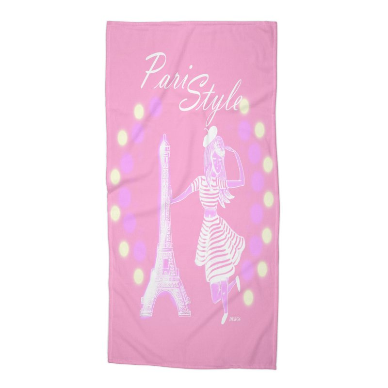 PariStyle White Accessories Beach Towel by DERG's Artist Shop