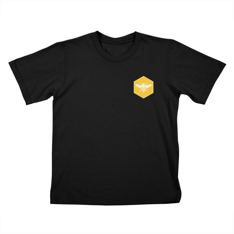 Bee Badge Kids T-Shirt by DRACULAD Shop
