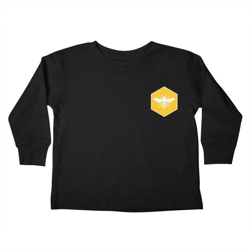 Bee Badge Kids Toddler Longsleeve T-Shirt by DRACULAD Shop