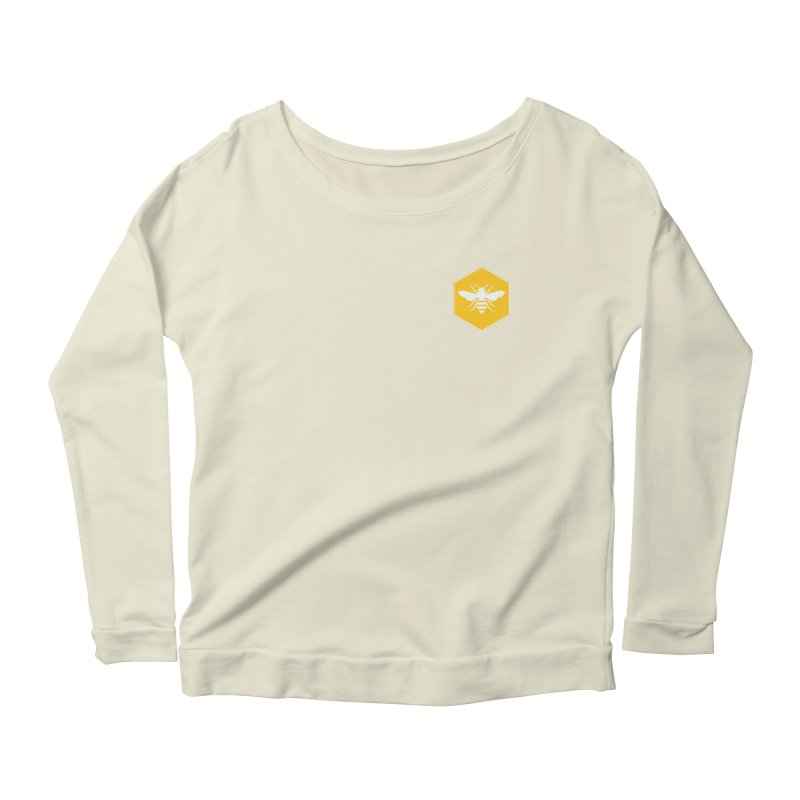 Bee Badge Women's Scoop Neck Longsleeve T-Shirt by DRACULAD Shop