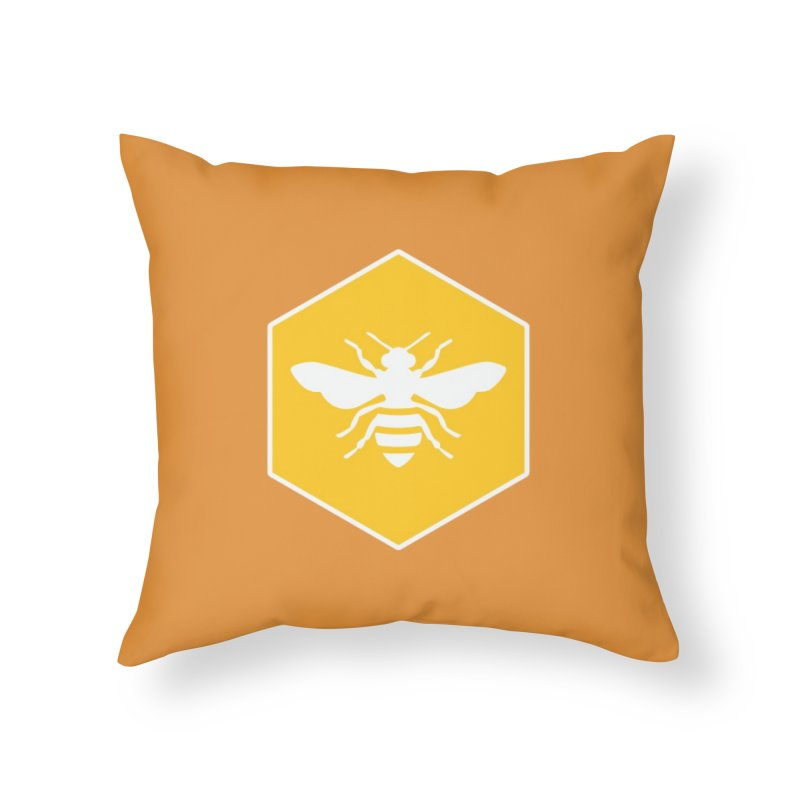 Bee Badge Home Throw Pillow by DRACULAD Shop