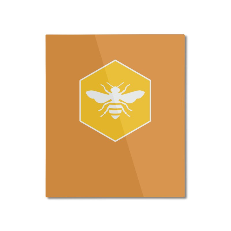 Bee Badge Home Mounted Aluminum Print by DRACULAD Shop