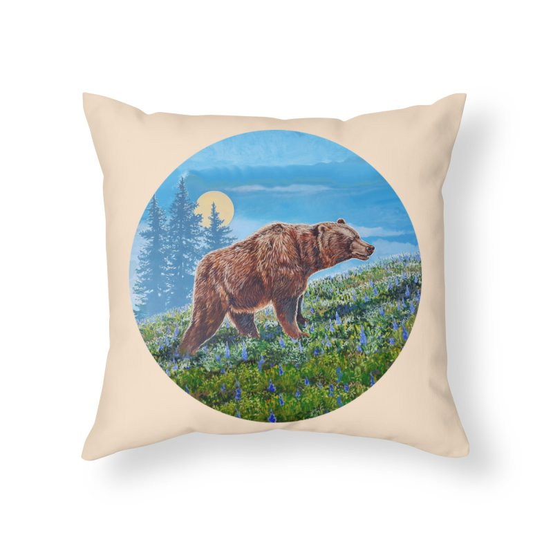 Full Moon & Grizzly  Home Throw Pillow by Dan Coe Art