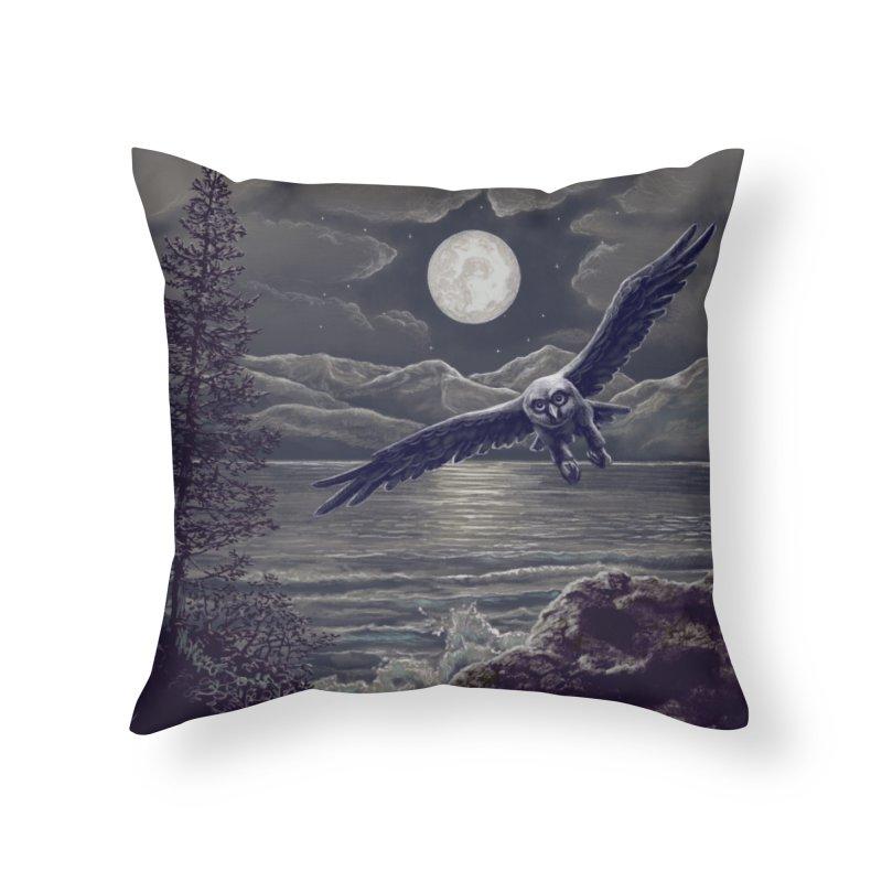 Owl over Kachemak Bay Home Throw Pillow by Dan Coe Art